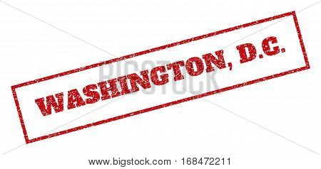 Red rubber seal stamp with Washington, D.C. text. Vector caption inside rectangular frame. Grunge design and dust texture for watermark labels. Inclined sticker.