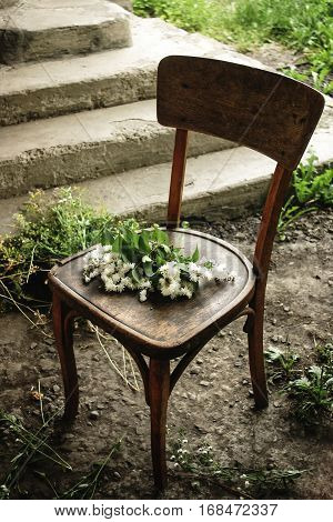Beautiful White Flowers On Rustic Wooden Chair, Decor And Arrangements, Simple Adorning