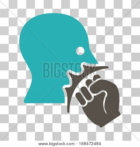 Face Violence Strike icon. Vector illustration style is flat iconic bicolor symbol, grey and cyan colors, transparent background. Designed for web and software interfaces.