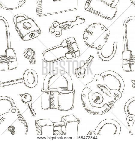 Doodled set of Different Locks and Keys pattern. Vector illustration, EPS 10