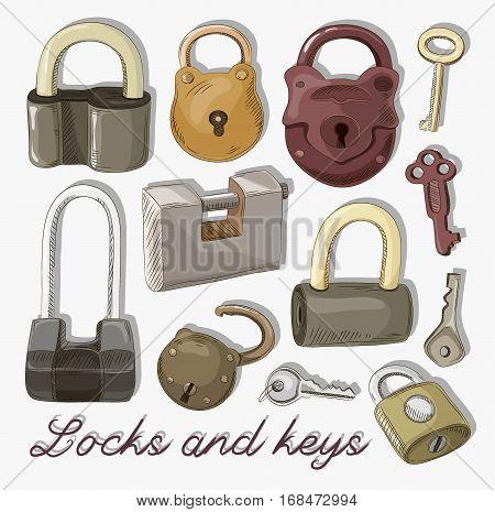 Doodled set of Different Locks and Keys. Vector illustration, EPS 10