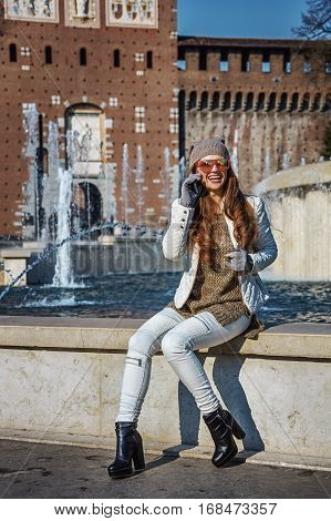 Traveller Woman Near Sforza Castle Using Mobile Phone