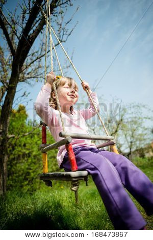 Child with dandelion wreath swnging on seesaw hanging from tree in backyard