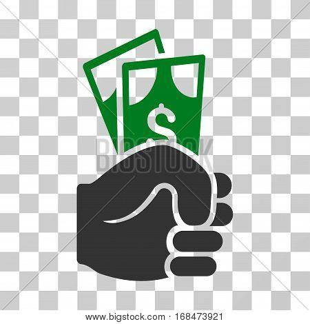Dollar Banknotes Salary icon. Vector illustration style is flat iconic bicolor symbol, green and gray colors, transparent background. Designed for web and software interfaces.