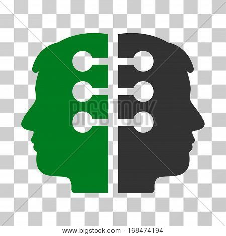Dual Head Interface icon. Vector illustration style is flat iconic bicolor symbol, green and gray colors, transparent background. Designed for web and software interfaces.