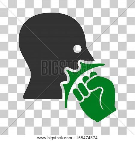 Face Violence Strike icon. Vector illustration style is flat iconic bicolor symbol, green and gray colors, transparent background. Designed for web and software interfaces.