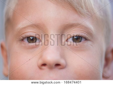 Blond boy with brown eyes close up