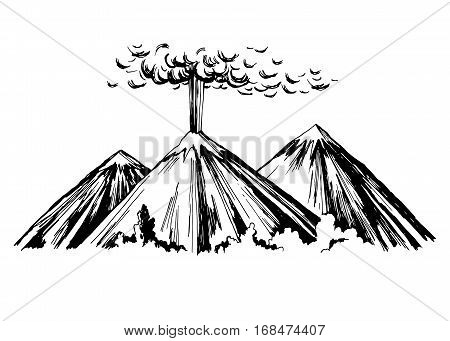 Eruption. Three mountains. Vector sketch freehand drawing