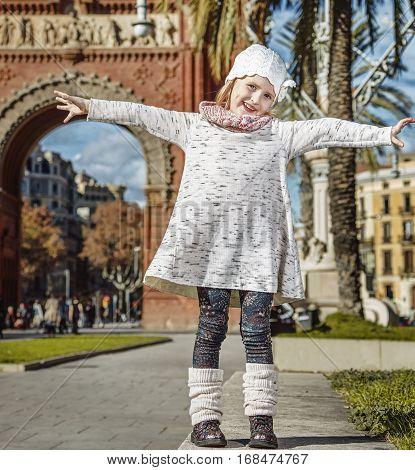 Happy Trendy Girl In Barcelona, Spain Rejoicing