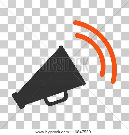 Announce Horn icon. Vector illustration style is flat iconic bicolor symbol, orange and gray colors, transparent background. Designed for web and software interfaces.
