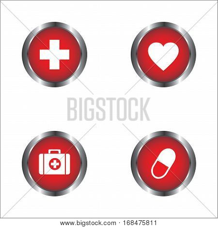 Heart, pills, First Aid kit and First Aid sign icon vector design isolated on white background