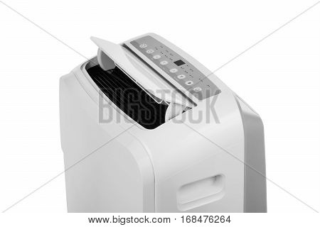Studio closeup product shot of a portable air conditioner or mobile dehumidifier isolated on white background with copy space. Climate control equipment poster