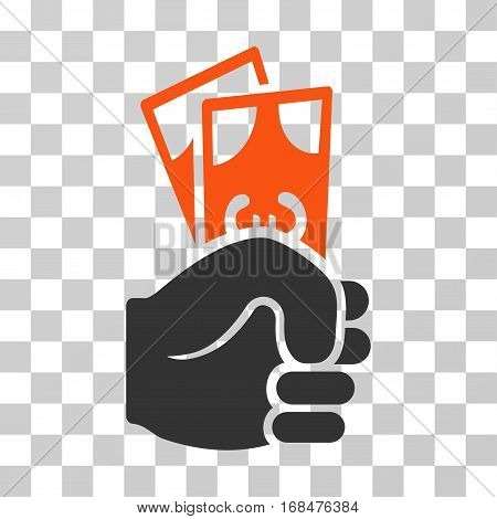 Euro Banknotes Salary icon. Vector illustration style is flat iconic bicolor symbol, orange and gray colors, transparent background. Designed for web and software interfaces.