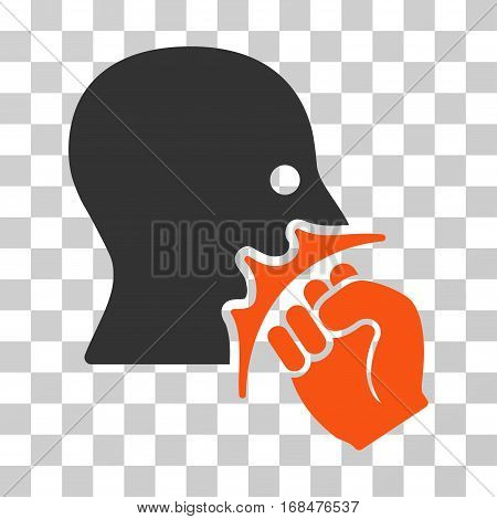 Face Violence Strike icon. Vector illustration style is flat iconic bicolor symbol, orange and gray colors, transparent background. Designed for web and software interfaces.