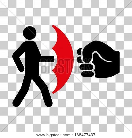 Crime Protection icon. Vector illustration style is flat iconic bicolor symbol, intensive red and black colors, transparent background. Designed for web and software interfaces.