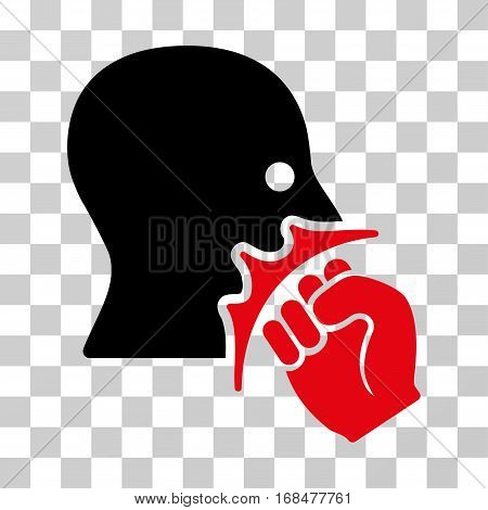 Face Violence Strike icon. Vector illustration style is flat iconic bicolor symbol, intensive red and black colors, transparent background. Designed for web and software interfaces.