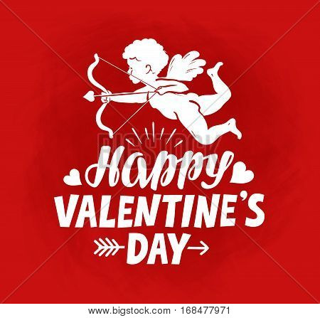 Happy Valentine's Day, greeting card. Flying angel, cherub or cupid