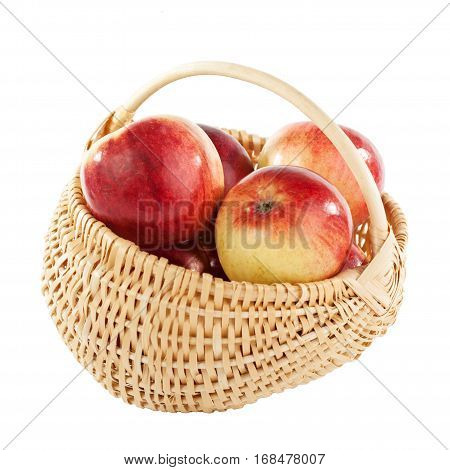 Apple basketry wicker basket food isolated red
