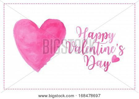 pink heart watercolor paint isolated on white background with words Happy Valentine's day