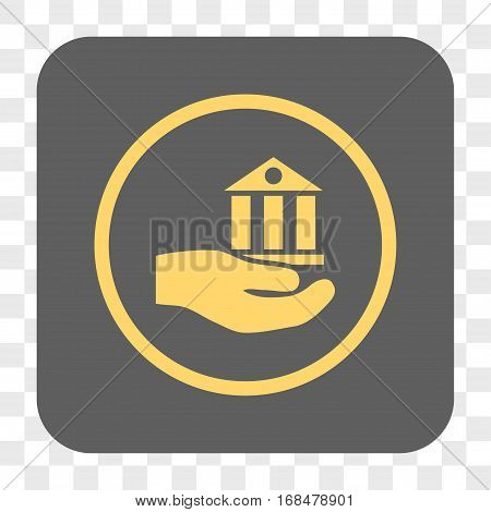 Bank Service interface toolbar button. Vector icon style is a flat symbol inside a rounded square button yellow and gray colors chess transparent background.