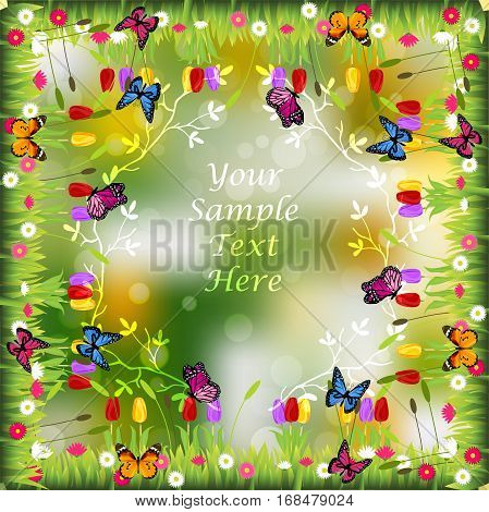 Very high quality original trendy illustration of grass with flowers and butterfly frame for text or card