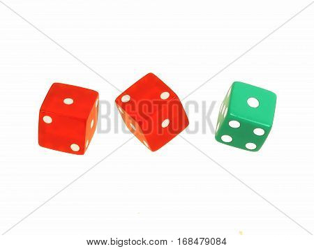 Three bright red and green floating dice