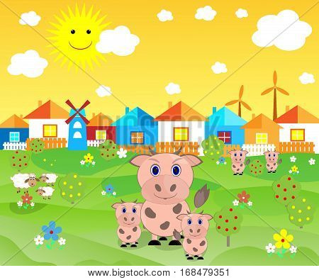 beautiful farm house pets cow sheep on the lawn of the sun, clouds vector illustration
