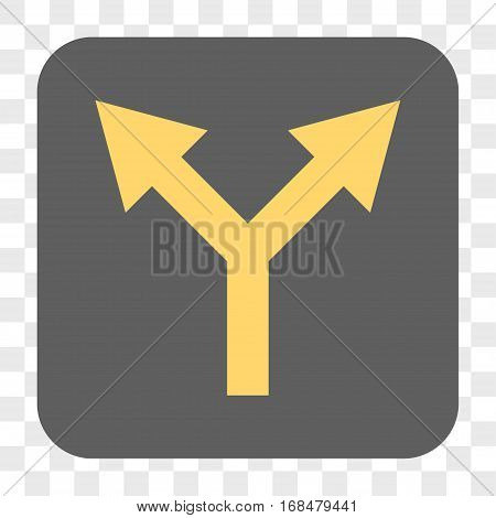 Bifurcation Arrow Up interface toolbar button. Vector icon style is a flat symbol inside a rounded square button yellow and gray colors chess transparent background.
