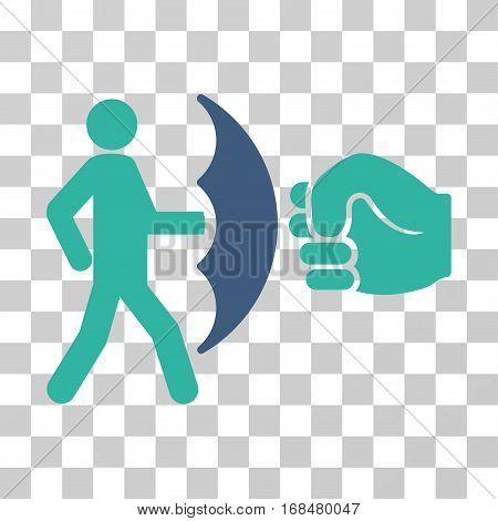 Crime Protection icon. Vector illustration style is flat iconic bicolor symbol, cobalt and cyan colors, transparent background. Designed for web and software interfaces.
