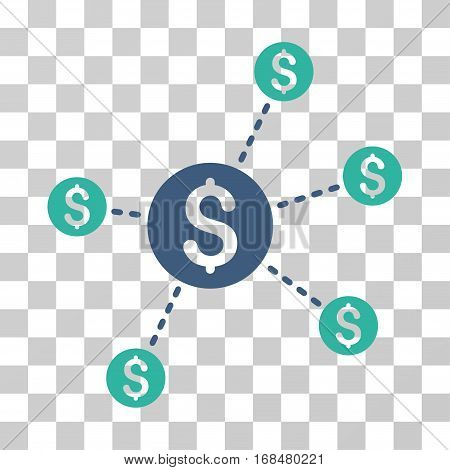 Dollar Network Nodes icon. Vector illustration style is flat iconic bicolor symbol, cobalt and cyan colors, transparent background. Designed for web and software interfaces.