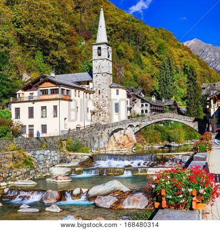Pictorial Alpine village Lillianes in Valle d'Aosta, North Italy