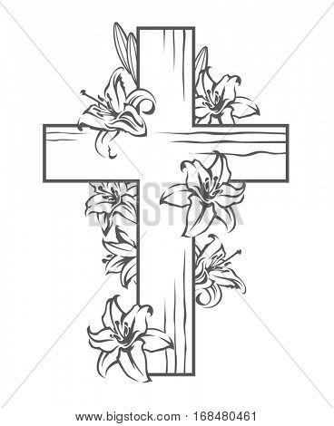 floral image with cross and blooming white lilies, Christian symbol. Vector illustration