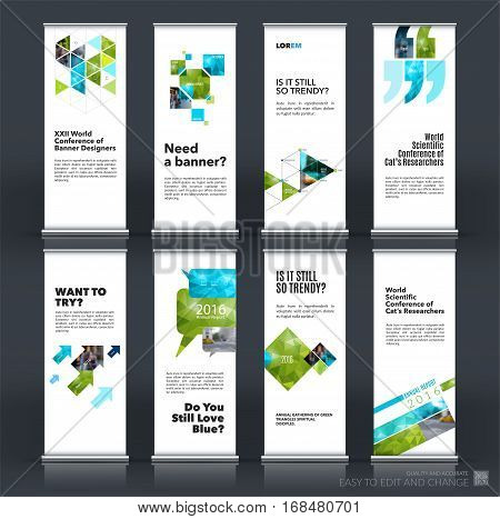 Mega set. Abstract business vector set of modern roll Up Banner stand design template with green rectangles, triangles for exhibition, fair, show, exposition, expo, presentation, events.