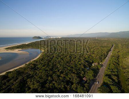 Aerial View of Sao Sebastiao Coast, Sao Paulo, Brazil