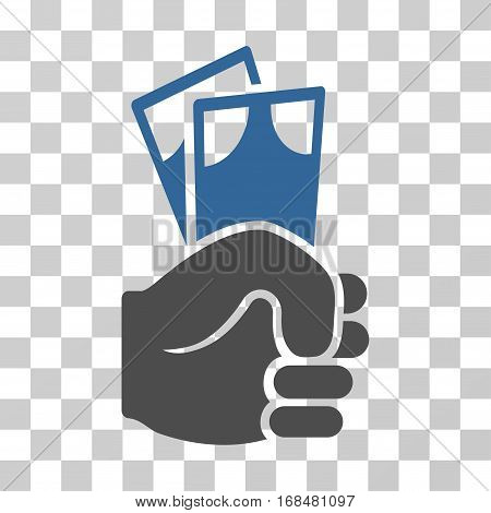 Banknotes Salary Hand icon. Vector illustration style is flat iconic bicolor symbol, cobalt and gray colors, transparent background. Designed for web and software interfaces.