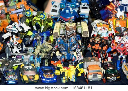 Moscow, Russia - November 20, 2016: Transformer robot toys for sale at the Gamefilmexpo festival dedicated to video games, TV series and comics, anime, manga, cosplay.