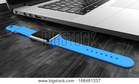 Laptop and silver aluminum watch with blue stripe. 3d rendering.