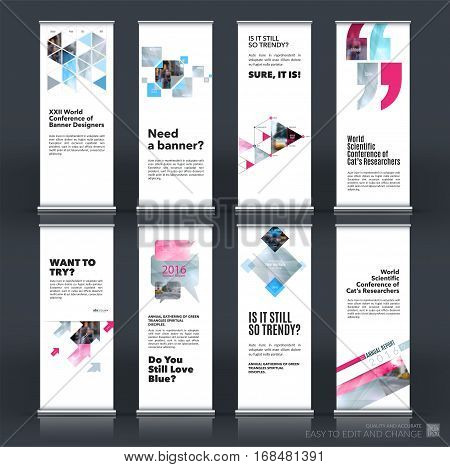 Mega set. Abstract business vector set of modern roll Up Banner stand design template with grey rectangles, triangles for exhibition, fair, show, exposition, expo, presentation, events.