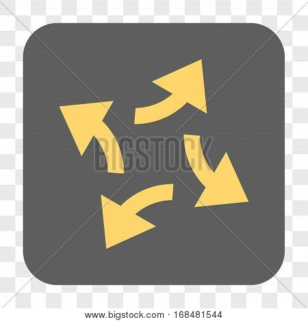 Centrifugal Arrows interface toolbar button. Vector icon style is a flat symbol on a rounded square button yellow and gray colors chess transparent background.