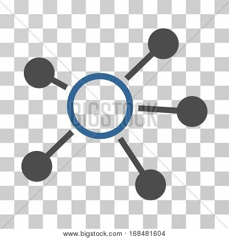 Connections icon. Vector illustration style is flat iconic bicolor symbol, cobalt and gray colors, transparent background. Designed for web and software interfaces.