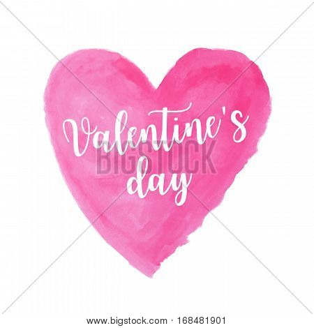 pink heart watercolor paint isolated on white background with words Valentine's day