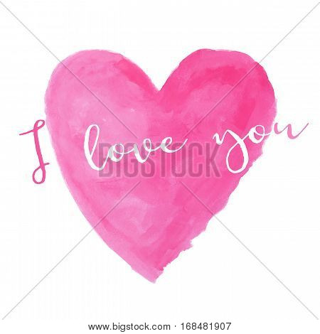 pink heart watercolor paint isolated on white background with words I love you