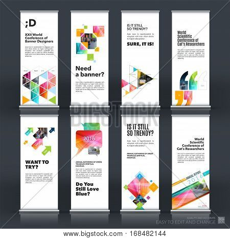 Mega set. Abstract business vector set of modern roll Up Banner stand design template with colourful rectangles, triangles for exhibition, fair, show, exposition, expo, presentation, events.