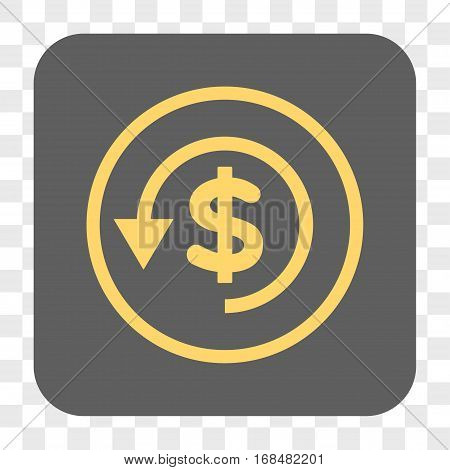 Chargeback interface toolbar button. Vector icon style is a flat symbol inside a rounded square button yellow and gray colors chess transparent background.