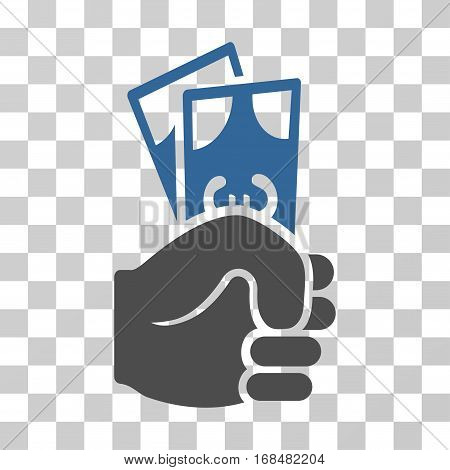 Euro Banknotes Salary icon. Vector illustration style is flat iconic bicolor symbol, cobalt and gray colors, transparent background. Designed for web and software interfaces.