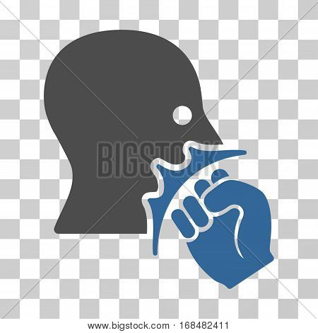 Face Violence Strike icon. Vector illustration style is flat iconic bicolor symbol, cobalt and gray colors, transparent background. Designed for web and software interfaces.