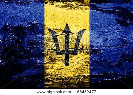 Barbados flag with grunge texture