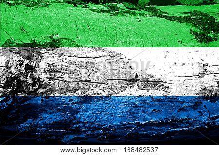 Sierra Leone flag with grunge texture