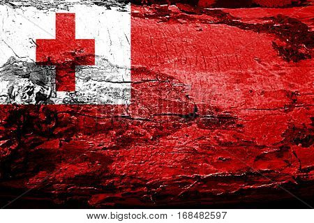 Tonga flag with grunge texture