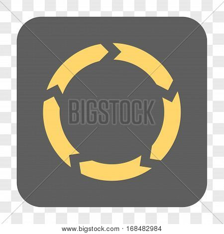 Circulation interface toolbar button. Vector icon style is a flat symbol inside a rounded square button yellow and gray colors chess transparent background.